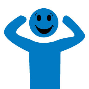 Graphic of happy BrainWorks Blue Guy